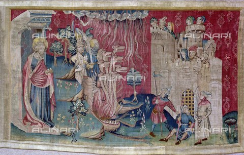 AIS-F-TYG015-0000 - Satana assedia la città, 1375-1382, ottava scena dell'arazzo numero 6 dell'Apocalisse di Angers, Nicolas Bataille (1330 ca.–1399 ca.), Castello di Angers - Iberfoto/Archivi Alinari