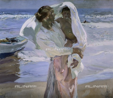 AIS-F-WJC691-0000 - After the bath, oil on canvas, Joaquin Sorolla y Bastida (1863-1923), Sorolla Museum, Madrid - M.C.Esteban / Iberfoto/Alinari Archives