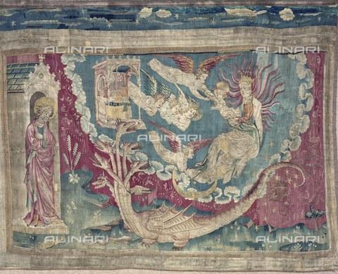 AIS-F-WNT906-0000 - La donna vestita di sole, 1375-1382, ottava scena dell'arazzo numero 3 dell'Apocalisse di Angers, Nicolas Bataille (1330 ca.–1399 ca.), Castello di Angers - Iberfoto/Archivi Alinari