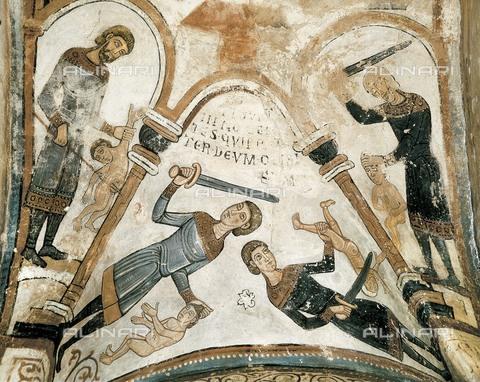AIS-F-XGU347-0000 - I soldati del re Erode uccidono i bambini durante la strage degli innocenti, affresco, arte romanica, Pantheon Reale della Collegiata di San Isidoro, Leon, Spagna - Iberfoto/Archivi Alinari