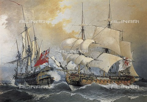 "AIS-F-YJC649-0000 - Capture of the English frigate ""Stanhope"" by Don Blas de Lezo, engraving, Naval Museum of Madrid - Iberfoto/Alinari Archives"