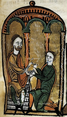 AIS-S-000201-6615 - Liber Feudorum Maior. end 12th c. Royal cartularium made by order of Alfonso el Casto. Fol. 12. Romanesque art. Miniature Painting. SPAIN. Barcelona. Royal Archive of the Crown of Aragon. - Iberfoto/Alinari Archives, J. Bedmar