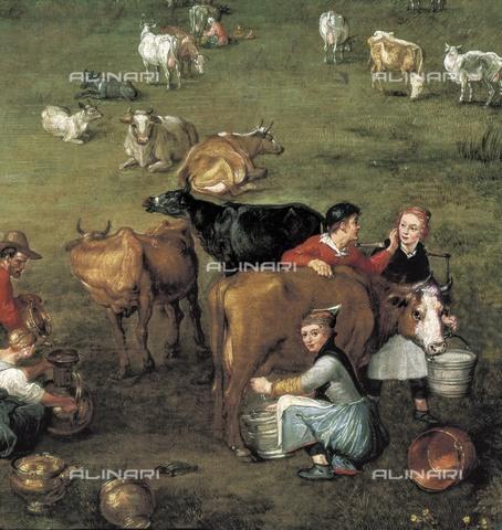 "AIS-S-000201-7196 - Breugel, Jan, The Elder, called ""Velvet Bruegel"" (1568-1625). The Peasant Life. ca. 1617. Lower right-hand detail, milking of the cows. Flemish art. Oil on wood. SPAIN. Madrid. Prado Museum. - Iberfoto/Alinari Archives, BeBa"