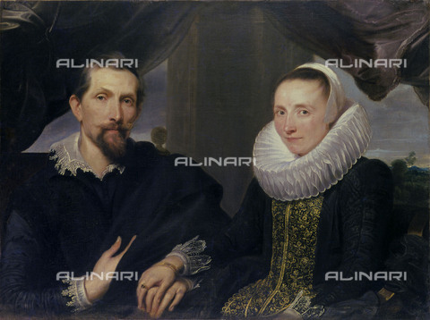 AIS-S-00IB43-6591 - Double portrait of Frans Snyders and wife, oil on canvas, Antoon Van Dyck (1599-1641), Staatliche Gemäldegalerie, Kassel - Iberfoto/Alinari Archives