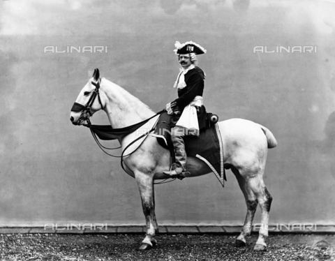 APA-F-004283-0000 - Lieutenant Rossi wearing an 18th century costume, photographed on horseback