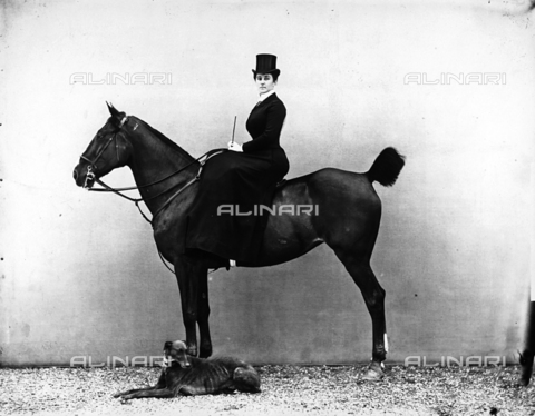 APA-F-01704B-0000 - Portrait of Mrs. Flori on horseback. A greyhound is in the foreground.
