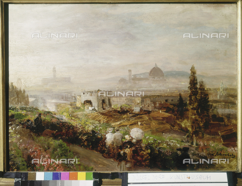 ATK-F-000405-0000 - View of Florence, oil on canvas, Oswald Achenbach (1827-1905), Kunstsammlung NRW, Düsseldorf - Westermann / Artothek/Alinari Archives