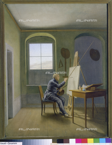 ATK-F-003948-0000 - Caspar David Friedrich in his studio, painting, Georg Friedrich Kersting (1785-1847), Kunsthalle, Mannheim - Artothek/Alinari Archives