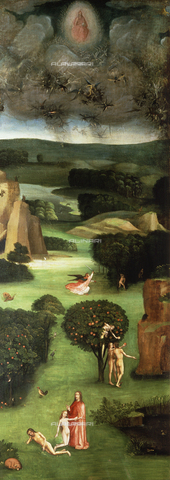 ATK-F-004318-0000 - Triptych of the Last Judgment: the Garden of Eden, (open left panel), oil on panel, Hieronymus Bosch (1453-1516), Akademie der bildenden Künste, Vienna - Artothek/Alinari Archives