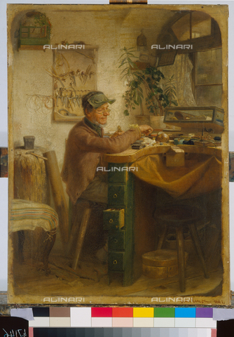 ATK-F-004714-0000 - The goldsmith, oil on wood, Guido Manes (1828-1880), National (Narodni) Galerie, Prague - Artothek/Alinari Archives