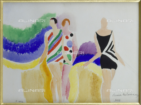 ATK-F-007064-0000 - Girls in bathing suits, watercolor, Sonia Delaunay (1885-1979) - Christie's Images Ltd / Artothek/Alinari Archives