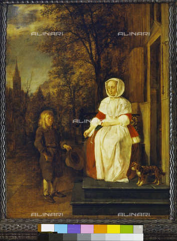 ATK-F-007496-0000 - Almsgiving, oil on board, Gabriel Metsu (1629-1667), Staatliche Gemäldegalerie, Kassel - Blauel / Artothek/Alinari Archives