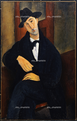 ATK-F-009795-0000 - Portrait of Mario Varvogli, oil on canvas, Amedeo Modigliani (1884-1920) - Christie's Images Ltd / Artothek/Alinari Archives