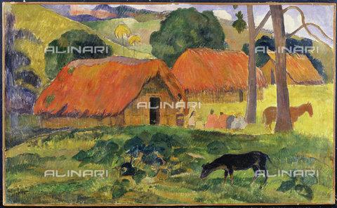 ATK-F-009915-0000 - Cane davanti a capanne di paglia, 1892, Paul Gauguin  (1848-1903) - Artothek/Archivi Alinari, Christie's Images Ltd - ARTOTHEK