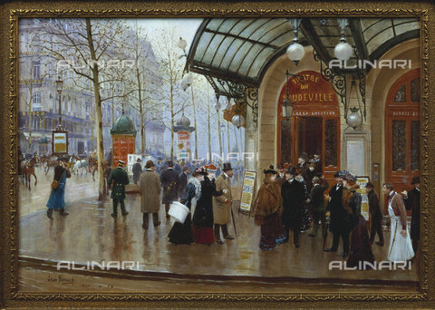 ATK-F-009931-0000 - Boulevard des Capucines. Teatro du Vaudeville in Paris, oil on canvas, Jean Béraud (1849-1935) - Christie's Images Ltd / Artothek/Alinari Archives
