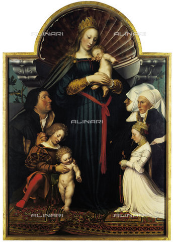 ATK-F-010800-0000 - Madonna and Child with patrons, also called Madonna of Darmstadt, tempera on panel, Hans Holbein, the younger (1497-1543), Private collection - Artothek/Alinari Archives, Hans Hinz