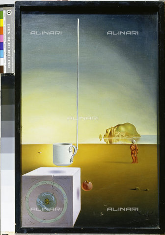 ATK-F-011049-0000 - Half cup giant suspended an inexplicable pendant five meters high, oil on canvas, Dali, Salvador (1904-1989), Private collection - Artothek/Alinari Archives, Hans Hinz