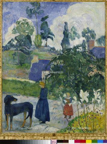 ATK-F-011427-0000 - Tra i giglio, paesaggio bretone con cane e bambini, 1889, Paul Gauguin (1848-1903) - © Hans Hinz - ARTOTHEK / Artothek/Archivi Alinari