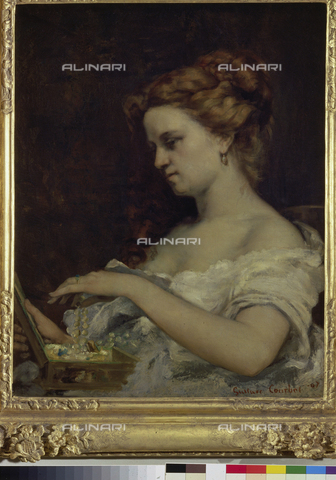ATK-F-013541-0000 - Lady with jewelry box, oil on canvas, Gustave Courbet (1819-1877), Musée des Beaux-Arts, Caen - Peter Willi / Artothek/Alinari Archives