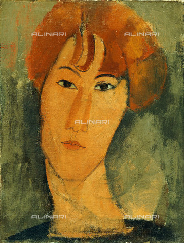 ATK-F-014361-0000 - Jeune Femme Rousse a La Collerette, oil on canvas, Amedeo Modigliani (1884-1920) - Christie's Images Ltd / Artothek/Alinari Archives