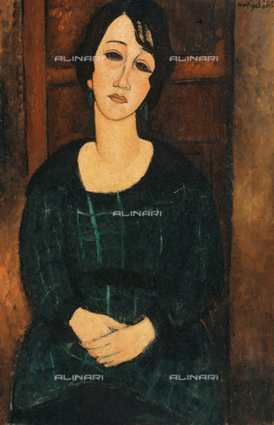 ATK-F-018861-0000 - Woman in scottish dress (Femme en Robe écossaise), oil on canvas, Amedeo Modigliani (1884-1920) - Christie's Images Ltd / Artothek/Alinari Archives