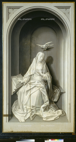 ATK-F-021517-0000 - Annunciation: Virgin announced, oil on panel, Hugo van der Goes (1435 / 40-1482), closed side panel of the Portinari Trittico, Uffizi Gallery, Florence - Paolo Tosi / Artothek/Alinari Archives