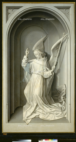 ATK-F-021518-0000 - Annunciation: announcing angel, oil on panel, Hugo van der Goes (1435 / 40-1482), closed side panel of the Portinari Trittico, Uffizi Gallery, Florence - Paolo Tosi / Artothek/Alinari Archives