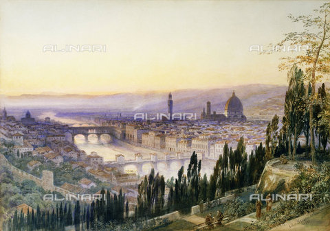 ATK-F-036215-0000 - View of Florence from San Miniato al Monte, watercolor, Arthur Severn (1842-1931) - Christie's Images Ltd / Artothek/Alinari Archives