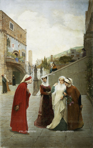 ATK-F-036625-0000 - The meeting of Dante and Beatrice, Lorenzo Valles, 1831-1910, oil painting on canvas - Artothek/Alinari Archives, Christie's Images Ltd