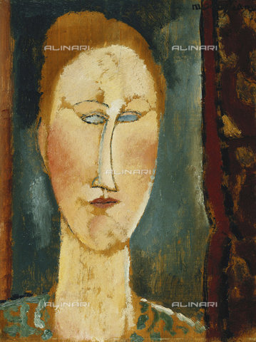 ATK-F-037160-0000 - Tête de Femme aux Cheveux Rouges, oil on wood, Amedeo Modigliani (1884-1920) - Christie's Images Ltd / Artothek/Alinari Archives