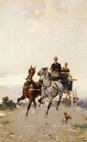 ATK-F-037572-0000 - Trotting (Al Trotto).,Oil/Canvas,19th century,20th century,Tominz,Alfredo,1854-1936 - Christie's Images / Artothek/Alinari Archives