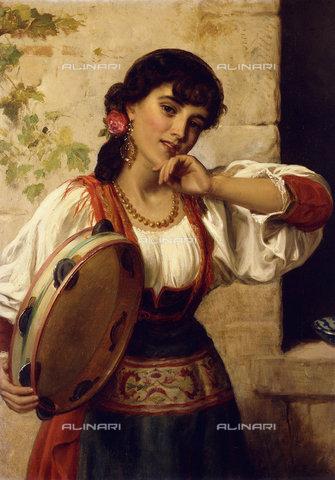 ATK-F-037576-0000 - A Neopolitan Dancer.,Oil/Canvas,19th century,Burgess,John Bagnold,1830-1897 - Christie's Images / Artothek/Alinari Archives