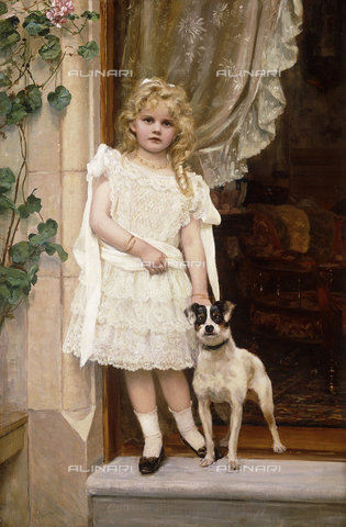 ATK-F-037579-0000 - My Best Friend. (The sitter is the artist's granddaughter, Sarita A. L. Ferie, aged 5.),20th century,19th century,Portrait,Oil/Canvas,1842-1924,Crawford,Robert Cree, - Christie's Images / Artothek/Alinari Archives