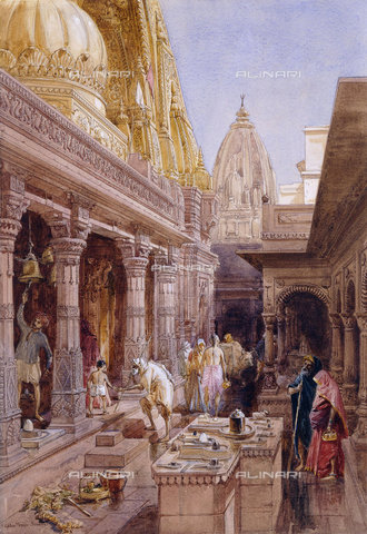 ATK-F-037589-0000 - The Golden Temple, Benares. 1862,Pencil and watercolor,heightened with white,and gum arabic,19th century,Simpson,William,1823-1899, - Christie's Images / Artothek/Alinari Archives