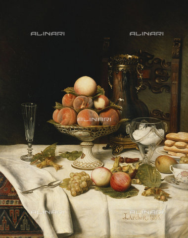 ATK-F-037601-0000 - Peaches in a Dresden Tazza, Grapes, Apples, Hazelnuts and Biscuits on a Draped Table. 1883,Oil/Canvas,Larcher,Jules,1849-1920,19th century,20th century,Still life - Christie's Images / Artothek/Alinari Archives