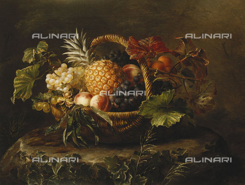 ATK-F-037602-0000 - A Pineapple, Grapes, Peaches and Apricots in a Basket.,Jensen,Johan Laurentz,1800-1856,Oil/Canvas,19th century,Still life - Christie's Images / Artothek/Alinari Archives