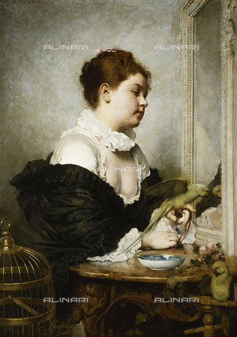 ATK-F-037605-0000 - A Young Girl with Parakeets.,Chaplin,Charles,1825-1891,Oil/Canvas,19th century - Christie's Images / Artothek/Alinari Archives
