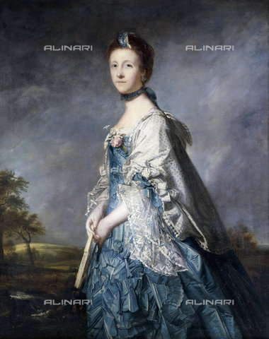ATK-F-037801-0000 - Portrait of Anne, Countess Winterton, Standing three-quarter length, Wearing a Blue Dress, and Lace-Trimmed Shawl, Holding a Fan, in a Landscape.,Reynolds,Sir Joshua,1723-1792,Oil/Canvas,18th century,Portrait - Christie's Images / Artothek/Alinari Archives