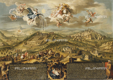 ATK-F-037803-0000 - A View of Bethlehem with the Journey of the Magi, the Trinity Above and the Nativity in a Painted Cartouche Below. 1752,Stephan,Joseph,ca. 1709-1786,Oil/Canvas,18th century - Christie's Images / Artothek/Alinari Archives