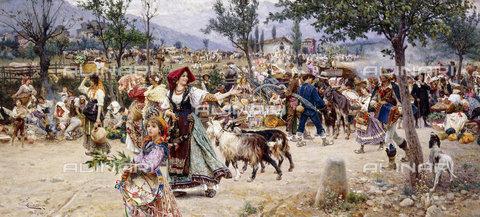 ATK-F-037808-0000 - Market Day, Near Rome.,Oil/Canvas,19th century,20th century,Tiratelli,Cesare,1864-1933 - Christie's Images / Artothek/Alinari Archives