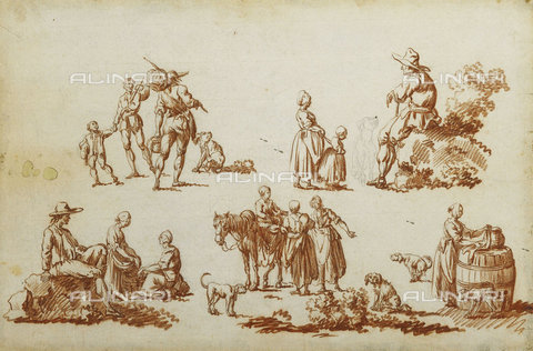 ATK-F-037813-0000 - Studies of Figures and Animals.,Red Chalk,18th century,Watteau,Louis Joseph,1731-1798 - Christie's Images / Artothek/Alinari Archives