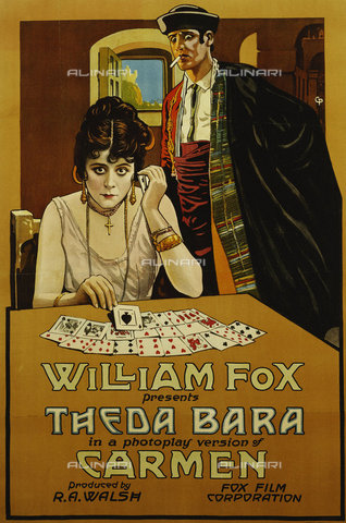 ATK-F-037814-0000 - Carmen. William Fox Presents Theda Bara. 1914 (This poster shows Theda Bara in one of her most famous films where she created perhaps the Screens first Femme Fatale.),Plakatkunst,Colour lithograph,20th century,Poster - Christie's Images / Artothek/Alinari Archives