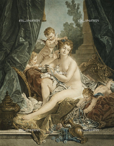 ATK-F-037816-0000 - The Toilet of Venus. 1783,Engraving,18th century,coloured,Janinet,Jean-Francois,1752-1814,after Francois Boucher - Christie's Images / Artothek/Alinari Archives