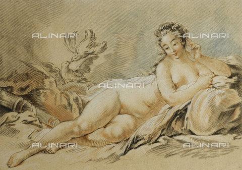 ATK-F-037817-0000 - Venus Resting (Le Repos de Venus). 1774,Engraving,18th century,coloured,Bonnet,Louis-Marin,1736-1793,after Francois Boucher - Christie's Images / Artothek/Alinari Archives