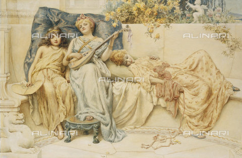 ATK-F-037822-0000 - A Lullaby. 1894,Watercolour and pencil,19th century,Prescott-Davies,Norman,1862-1915 - Christie's Images / Artothek/Alinari Archives