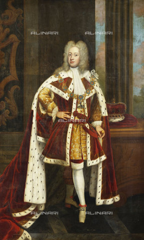 ATK-F-037830-0000 - Portrait of King George II When Prince of Wales, Full Length, Wearing State Robes and the Collar of the Order of the Garter, Holding His Sword in His Left Hand, and His Coronet on a Table Beside Him.,Kneller,Sir Godfrey,1646-1723,Oil/Canvas,18th century,17th century,Portrait,Circle of - Christie's Images / Artothek/Alinari Archives