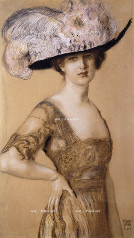 ATK-F-037854-0000 - Portrait of a Lady wearing a Feather Hat. 1910,Stuck,Franz von,1863-1928,Pastel/Cardboard,20th century - Christie's Images / Artothek/Alinari Archives