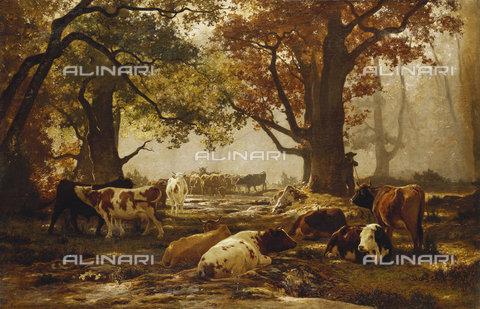 ATK-F-037863-0000 - Cattle in a Wooded River Landscape.,Oil/Canvas,19th century,Bonheur,Auguste Francois,1824-1884 - Christie's Images / Artothek/Alinari Archives
