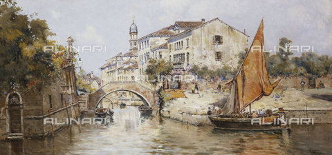 ATK-F-037868-0000 - A Venetian Backwater.,20th century,19th century,1859-1937,Reyna Manescau,Antonio Maria de,Oil/Canvas, - Christie's Images / Artothek/Alinari Archives