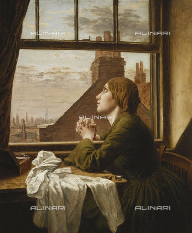 ATK-F-037873-0000 - The Song of the Shirt. 1854 (The picture depicts an exploited seamstress, a common theme in Victorian social realist painting. It uses a verse from Song of the shirt by Thomas Hood (1799-1845) published in Punch Christmas 1843.),Oil/Canvas,19th century,Blunden,Anna Elizabeth,1830-1915 - Christie's Images / Artothek/Alinari Archives